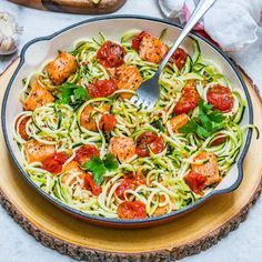 🍋This meal comes together within 15 minutes! I'll be making it all Spring + Summer! The flavors are super tangy, satisfying! Tag me if you make it Makes 2 servings Ingredients: 2 large zucchini, spiralized ( cleanfoodcrush.com/spiralizer ) 1...