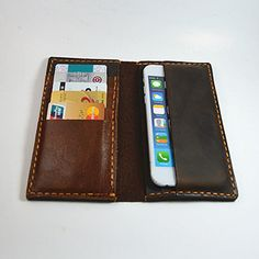 Handmade--Leather 6 Plus Wallet Case - Made with Distressed Leather #Handmade