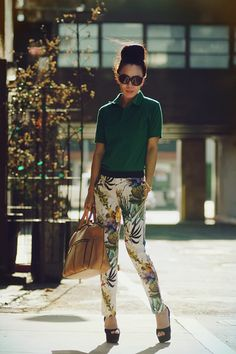 halliedaily - polo shirt, zara printed pants