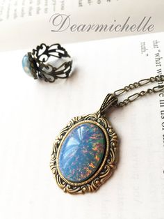 Victorian Vintage Blue Fire Opal Necklace, Vintage Jewelry, Antique Bronze Emerald Fire Opal Pendant, Iridescent Necklace, Opal Jewelry
