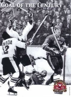 Goal of the Century ~ Paul Henderson and Yvan Cournoyer celebrating the goal that won the Summit Series in Moscow, Soviet Union, September 28, 1972.