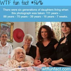 Six generations of daughters in one photo - WTF fun fact ——but one sixteen with a seven week old baby nothing wrong just wanted to point out Wow Facts, Real Facts, Wtf Fun Facts, True Facts, Funny Facts, Funny Memes, Jokes, Crazy Facts, Random Facts