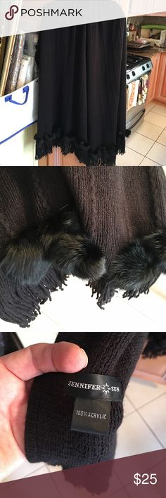 Wrap shawl with rabbit fur Pristine condition and gorgeous.  Can be used formal or everyday.  Each side measures 30 inches. Jackets & Coats Capes