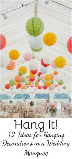 Wedding Marquees Beautiful wedding marquee with an array of paper lanterns lots of colour and atmosphere to the roof space. Looks stunning. Photo Credit Helen Lisk Photography The post Wedding Marquees appeared first on Paper Diy. Wedding Lanterns, Lanterns Decor, Paper Lantern Wedding, Wedding Ceiling, Wedding Marquee Hire, Wedding Venues, Wedding Marquee Decoration, Wedding Ideas, Roof Decoration