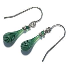 Mint Green and White Glass Droplet Earrings by SundropJewelry, $25.00