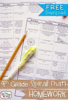 FREE 9th Grade Algebra Common Core Spiral Math Homework - with answer keys - 2 Weeks FREE!