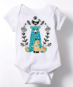 White Woodland Animals Bodysuit - Infant   zulily