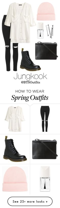"""""""Spring Outfit Inspired by Jungkook"""" by btsoutfits on Polyvore featuring Topshop, H&M, BCBGMAXAZRIA, Dr. Martens, Christian Dior, NLY Accessories, women's clothing, women, female and woman"""