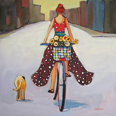 contemporary figure painting by Carolee Clark: most sold, patterns on pets too, MANY: T
