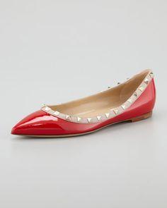Rockstud Patent Ballerina Flat, Red/Tonal by Valentino at Neiman Marcus.