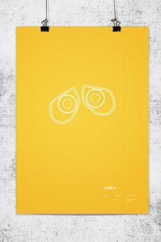 """Wall-E"", Carteles minimalistas de Pixar - #graphic #poster #print"