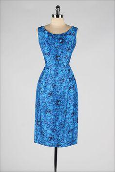 1950s blue floral silk