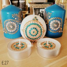 Candle Set of two pillar candles, a ball candle and two jumbo tealight candles for £27. Hand-decorated with golden paint and decorated with matching turquoise and silver crystals. Eye-catching piece for every room. Ideal giftidea for birthdays, anniversaries, weddings and other events.