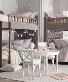 Love this girls room ♡ Who would have thought of a headboard for bunk beds!