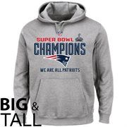 New England Patriots Majestic Big & Tall Super Bowl XLIX Champions Trophy Collection Locker Room Pullover Hoodie - Gray