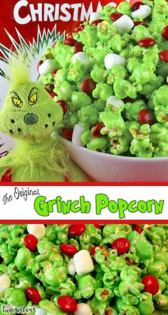 christmas snacks The Original Grinch Popcorn Recipe - a fun sweet and salty treat that your family will love. Sweet, salty, crunchy and delicious. Find out how to make Grinch Popcorn from the people who originally created this Christmastime snack. Grinch Party, Grinch Christmas Party, Christmas Movie Night, Christmas Snacks, Christmas Cooking, Christmas Goodies, Christmas Candy, Holiday Treats, Kids Christmas