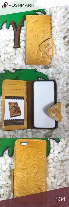 """Patricia Nash Fiona phone wallet iPhone 6 mustard PATRICIA NASH IPHONE 6 PHONE WALLET """"FIONA""""  MAGENTIC CLOSURE  MEASUREMENTS WIDTH- 3 INCHES HEIGHT-6 INCHES  *TINY IMPERFECTION SEE PHOTO,  HARDLY NOTICEABLE. No trades please Patricia Nash Accessories Phone Cases"""