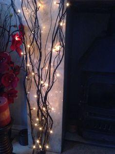 Decorative Black Branch Twig Lights 50 White Micro 1 2metres