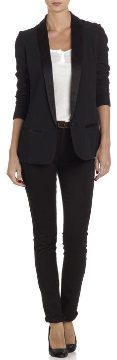 Ba&sh - Black Tuxedo Jacket with Silk Collar