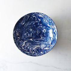 Blue & white ebru ceramic serving bowl. Turkish. Earthenware. Clay marbled with two colors. Food 52