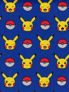 Pokemon Fabric, Pokeballs on Blue, Pikachu on Blue Kaufman fabric, 15113 Blue / 1 Yard Cuts 1/2 Yard Cuts / Robert Kaufman by SewWhatQuiltShop on Etsy