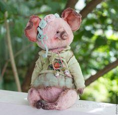 Купить хрюшка тедди Нюф - розовый, мишка ручной работы, мишка тедди, подарок девушке