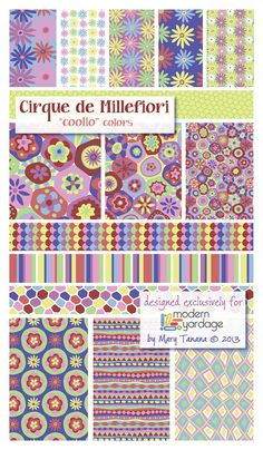 "Another colorway available at ModernYardage.com ! ""Coolio"" from the Cirque de ‪#‎Millefiori‬ ‪#‎collection‬. ‪#‎fabric‬ ‪#‎quilt‬ ‪#‎sew‬ ‪#‎design‬ ‪#‎pattern‬ ‪#‎craft‬ ‪#‎decor‬ ‪#‎surfacedesign‬ ‪#‎modernyardage‬ ‪#‎groovity‬"