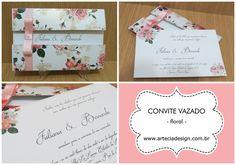 Convite de casamento vazado floral <3 Modelo LINDO da Arte e Cia Design <3 Orçamento Grátis agora ➼ http://www.casareumbarato.com.br/guia/arte-cia-design/