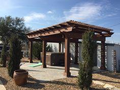 Cedar pergola with salt finish Concrete. Cedar Pergola, Landscaping Company, Arbors, Concrete, Salt, Outdoor Structures, Landscape, Kitchen, Courtyards