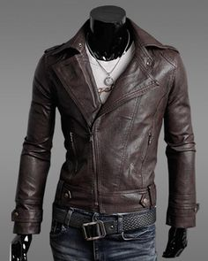 Mens Leather Jacket Classical Korean Slim Glazing Leather Cotton ...