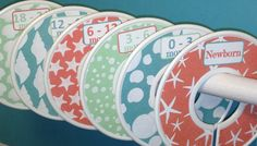 6 Custom Baby Closet Dividers - Sea Shells in Coral Sea Glass and Aqua Nautical Baby Nursery Theme Baby Shower Gift Decor- on Etsy, $18.00