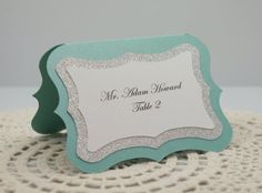 Aqua/Tiffany Blue Sweetheart Scalloped Wedding Escort Card / Place Card Full of Bling, Sparkle, and Dazzle-Custom & Handmade