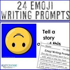 Emoji Writing Prompts: NO PREP options: EDITABLE PowerPoint | Distance Learning |  2nd, 3rd, 4th, 5th, 6th, 7th, 8th grade, Activboard Activities, Creative Writing, Fun Stuff, Homeschool, Literacy Center Ideas, Writing