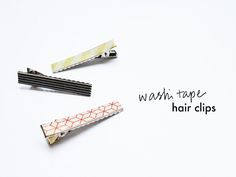 Brighten up a boring hair clip with a single strip of washi tape. Simply stick the tape along the top edge of the clip to instantly create a stylish new hair accessory that you can easily change to match any outfit! Washi Tape Uses, Washi Tape Storage, Washi Tape Wall, Washi Tape Cards, Masking Tape, Washi Tapes, Tape Wall Art, Tape Art, Tape Crafts