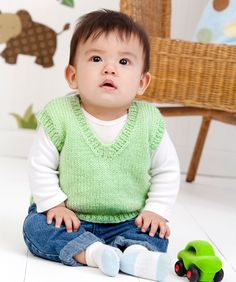 Knit this easy vest to keep baby boy looking very dapper wherever he may go during his busy days. Of course, a girlie color would change this vest into a baby girl fashion piece.