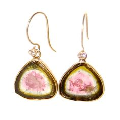 Watermelon Tourmaline Slice Earrings with Diamonds and Gold by beatriz