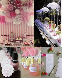 Baby Shower Ideas for Girls On a Budget | create a pretty dessert table complete with poms and a pretty wall ...