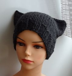 Cat Ears Hat Cat Beanie Chunky Knit Winter Accessories by Ifonka