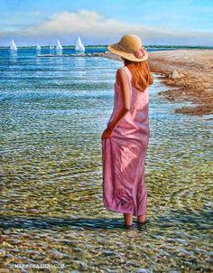 """Shadows in the Shallows"" by famous painter Mark Shasha Double Exposition, Bo Bartlett, Edouard Manet, Beach Art, Beach Mural, Seaside Art, Figure Painting, American Artists, Female Art"