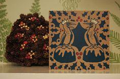 Hand printed linocut Christmas card bird on by HannahAndHerPress
