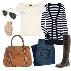 cute outfit combo... i feel like i am a little striped out but like the lace top, gold, brown boots, etc.