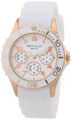 Mike Ellis New York Damen-Armbanduhr Analog Quarz Silikon S2703ARS - http://uhr.haus/mike-ellis-new-york/mike-ellis-new-york-damen-armbanduhr-analog-quarz