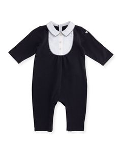 Long-Sleeve Jersey & Poplin Coverall, Blue, Size 3-12 Months