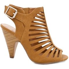 Womens Cut Out Strappy Buckle Sling Back Chunky High Heel Sandals ($30) ❤ liked on Polyvore featuring shoes, sandals, strappy heel sandals, buckle shoes, cutout sandals, slingback sandals and heeled sandals