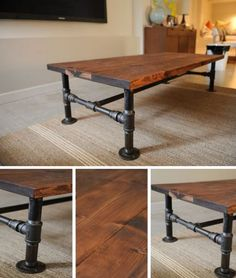 DIY Industrial Coffee Table | http://homestead-and-survival.com/diy-industrial-coffee-table/