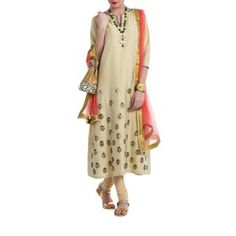 Beige Embroidered Suit by ILK. Original price is Rs.19,500 and our 50% DISCOUNTED price is Rs.9,750 + 12.5% Tax