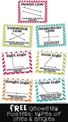 Lines and Angles Posters Geometry Vocabulary, Teaching Geometry, Geometry Activities, Geometry Worksheets, Line Math, Math Charts, Teaching Vocabulary, Math Poster, Math Measurement