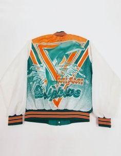 Vintage 90s Chalk Line MIAMI DOLPHINS Animation NFL Football VARSITY Jacket L Y1