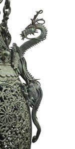 The El Mirasol mansion Aesthetic Movement bronze hanging lantern<BR />late 19th century