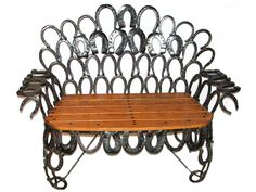 Handmade Bench with Repurposed Antique Horseshoes - so cool! #repurpose #furniture